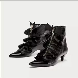 Zara Black Patent Leather Ruffle Ankle Booties
